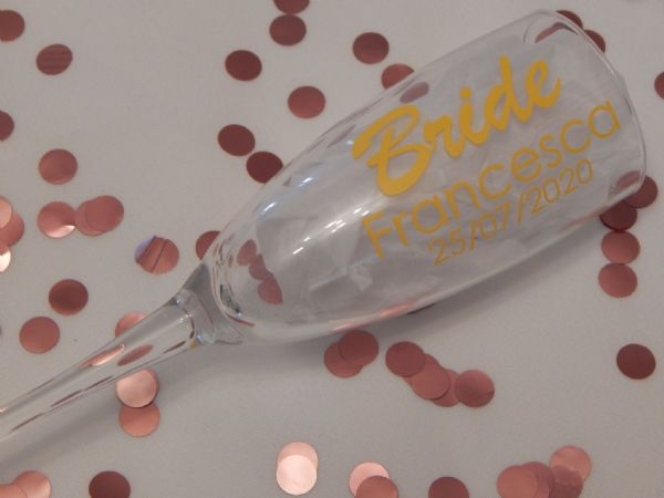 Personalised Wedding Champagne Glass Name, Role & Date Length Ways
